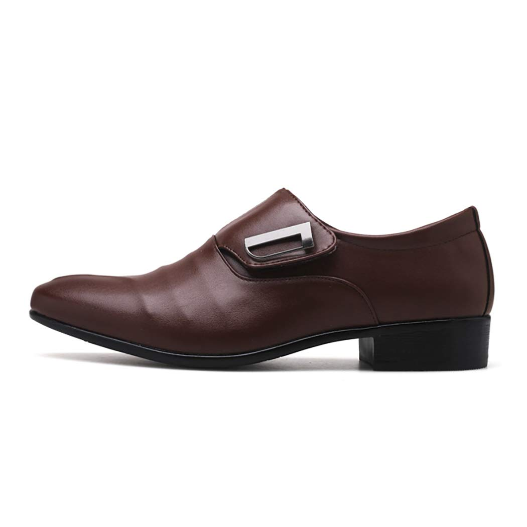 Brown Mzq-yq Male British Pointed shoes Men's Wedding shoes Large Size Men's Dress shoes European And American Monks shoes