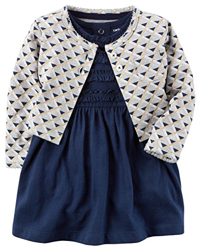 Baby Dress (Carter's Baby Girls Dress Set, Grey/Navy Ruffle, 18M)