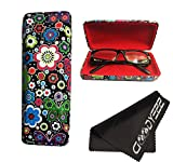 Glasses Case, Hard Shell Stylish Protects Sunglasses Storage For Reading Eyeglasses & Eyewear Clamshell Holder With Cleaning Cloth (Black - Floral)