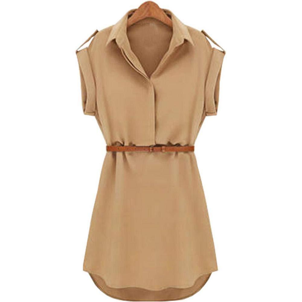 Firally Donne Casual Estate Sciolto Manica Corta Vestito con Cintura Solido delle Donne Camicetta Lunga Estivo