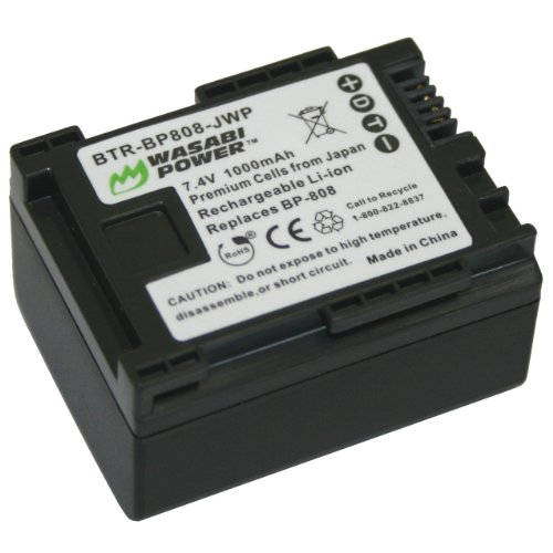 Wasabi Power Battery for Canon BP-808, BP-809 (1000mAh) and Canon FS21, FS22, FS31, FS40, FS200, FS300, FS400, VIXIA HF G10, HF G20, HF M30, HF M31, HF M32, HF M40, HF M41, HF M300, HF M400, HF S10, HF S11, HF S20, HF S21, HF S30, HF S100, HF S200, HF20, HF21, HF200, HG20, HG21, XA10