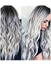 """Rswsp 23"""" Natural Full Wigs Hair Long Wavy Wig Synthetic Heat Resistant (Ombre Silver)"""
