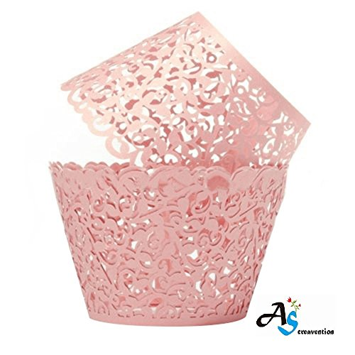 A&S Creavention Vine Cupcake Holders Filigree Vine Designed Decor Wrapper Wraps Cupcake Muffin Paper Holders - 50pcs (Pink) -