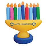 Zion Judaica Inflatable Lawn Menorah Indoor Outdoor Decoration with LED Night Glowing Lights - 7' Feet 2017 Version