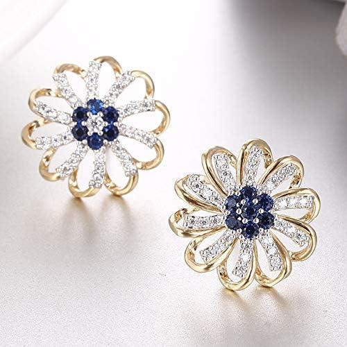 Pendientes de botón de flor de cristal azul de moda para mujer Pendientes de botón de plata con oreja de zirconia Aaa Regalo