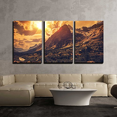 "Wall26 - 3 Piece Canvas Wall Art - Italian Alps Scenery. Northern Italy Mountain Landscape. - Modern Home Decor Stretched and Framed Ready to Hang - 24""x36\""x3 Panels"