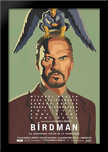Birdman 28x40 Large Black Wood Framed Print Movie Poster Art by ArtDirect