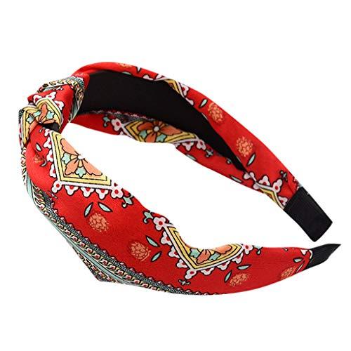 Fashionhe Women's Leopard Print Head Wrap Simple Fashion Head Hoop Band Fabric Headband Hair Accessories (Red)