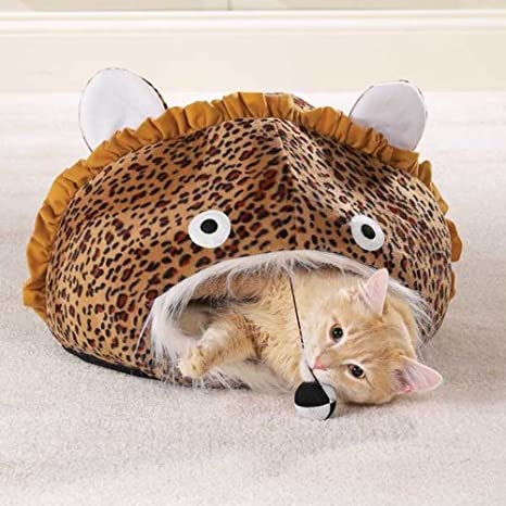 Meow Town Cat Cave Leopard Print Brown