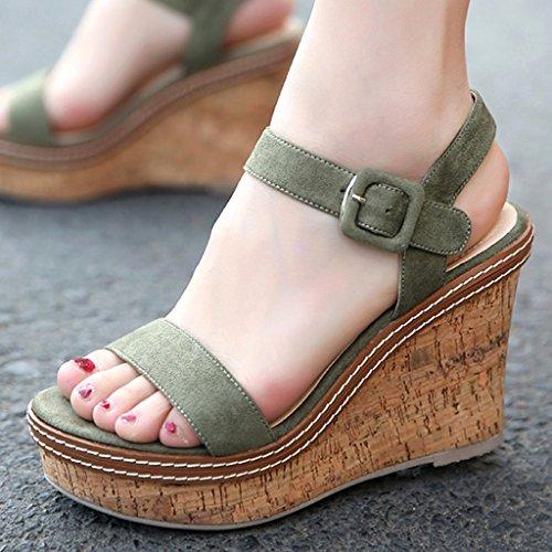 Sandalias Alto Verano De Cm Color Tacones Siz Moda Altos Blanco 10 Tacón Cuña Muffin Plataforma Zapatos Green Mujer Gruesa Impermeables rwrqYxR