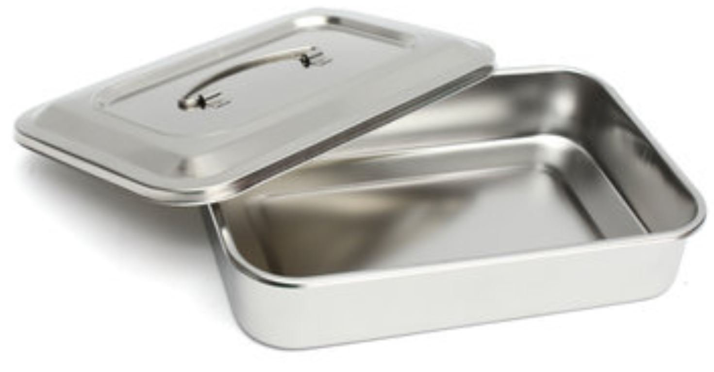 Stainless Steel Instrument Tray with Lid & Handle for Medical Dental by AdvancedShop
