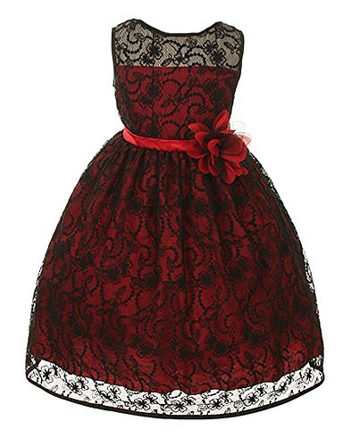 Girl's Elegant Flower Girl Party Holiday Dress - Black Lace/Red 6
