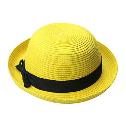 FUNOC Vintage Women Summer Sun Beach Cap Straw Bowler Hat Clothe Derby Style Hat
