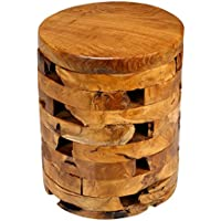 Bare Decor Stonehenge Artisan Accent Table in Solid Teak Wood