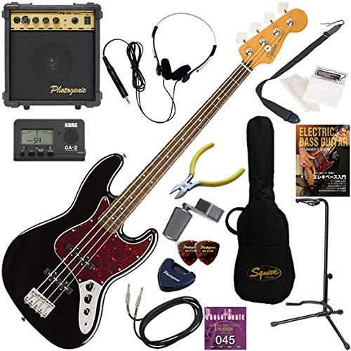 Squier エレキベース 初心者 入門 王道のジャズベース 10wアンプが入ったスタンダード15点セット Classic Vibe '60s Jazz Bass/BLK(ブラック)  BLK(ブラック) B07QPHQ5HS