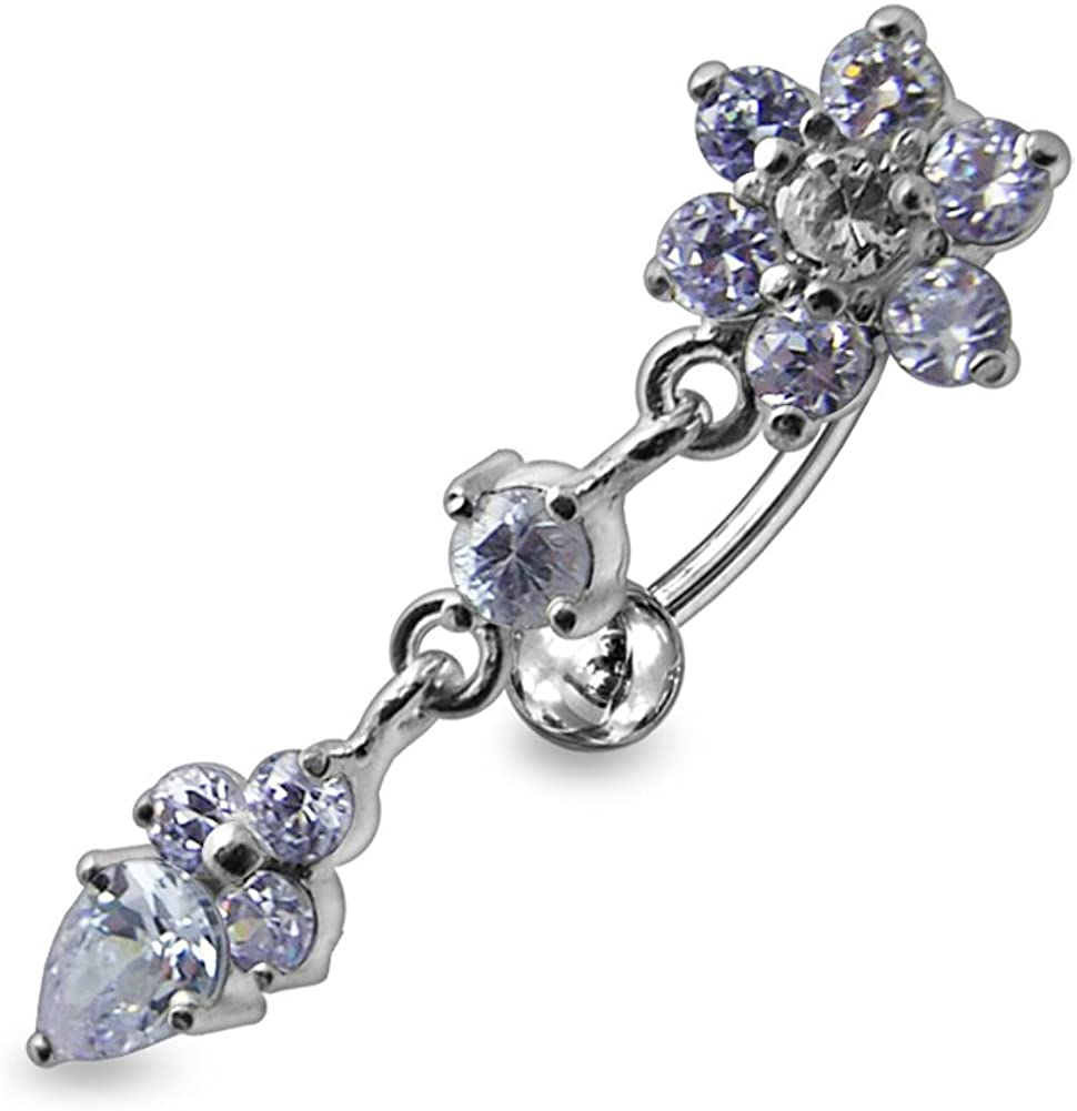 AtoZ Piercing Lavender Crystal Stone Fancy Flower Reverse Bar Dangling 925 Sterling Silver with Stainless Steel Belly Button Rings