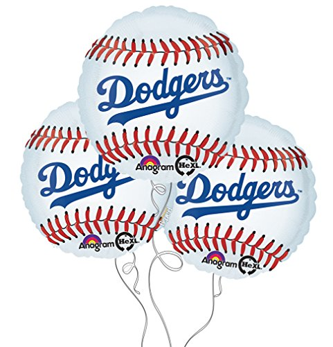 Los Angeles Dodgers Baseball Mylar Balloons - 3 Pack