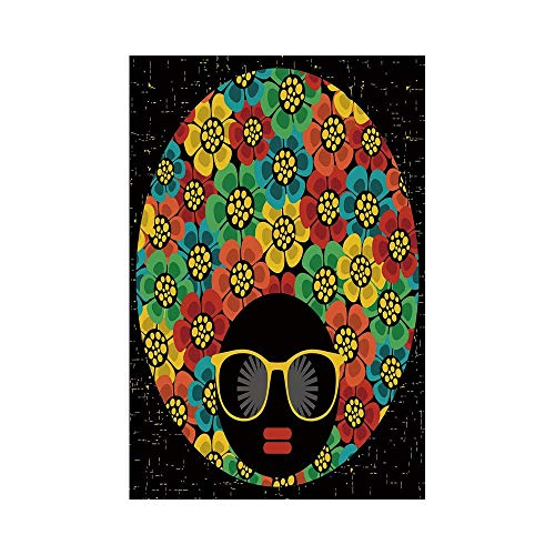 Polyester Garden Flag Outdoor Flag House Flag Banner,70s Party Decorations,Abstract Woman Portrait Hair Style with Flowers Sunglasses Lips Graphic Decorative,Multicolor,for Wedding Anniversary Home Ou ()