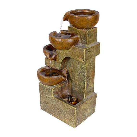 Alpine Corporation 4-Tier Pouring Pots Fountain - Tabletop Indoor/Outdoor Water Fountain for Yard, Patio, Garden - Brown - Make sure this fits                by entering your model number. POURING POTS FOUNTAIN: Outdoor fountain is the perfect addition to your decor. Interior pump keeps the water flowing - just plug it in! RELAXING WATER FLOW: Water trickles down through pots to mimic the sounds of a real waterfall, adding peaceful ambiance to your home or yard - patio, outdoor-decor, fountains - 51Gke tAH3L. SS570  -