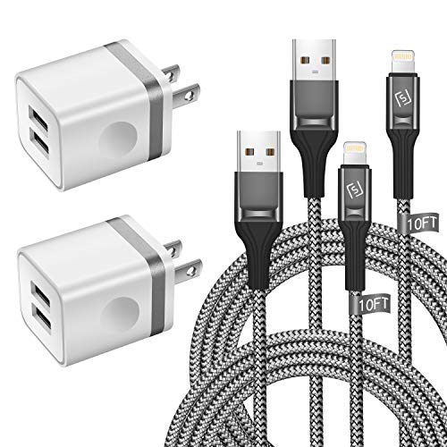 WHIRELEAST iPhone Charger Cable with Wall Plug, Braided Long iPhone Charging Cord + Dual USB Wall Charger Block Adapter Compatible with iPhone 11/11 Pro Max/XS/XR/X/8/7/6 Plus, iPad (4-Pack)