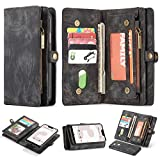 Google Pixel 3A XL Leather Wallet Zipper Purse Detachable Card Slots Holder Flip Case Magnetic Wrist Strap Handle Shockproof Cover Pocket Wallet Handbag for Google Pixel 3A XL (Black, Pixel 3A XL)