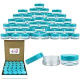 (Quantity: 2000 Pieces) Beauticom 3G/3ML Round Clear Jars with TEAL Sky Blue Lids for Scrubs, Oils, Toner, Salves, Creams, Lotions, Makeup Samples, Lip Balms - BPA Free