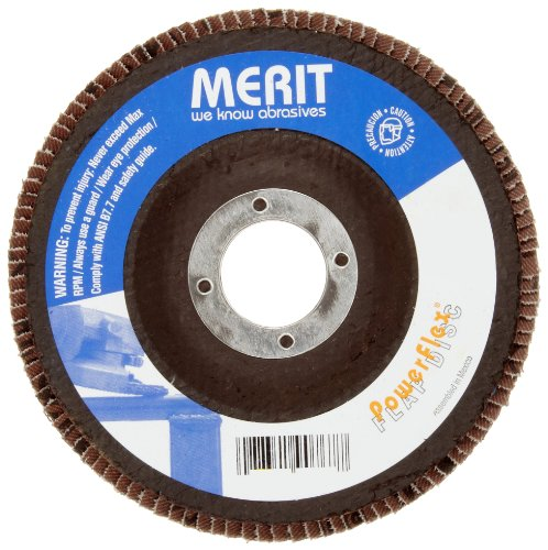 Merit High Density Powerflex Abrasive Flap Disc, Type 27, Round Hole, Fiberglass Backing, Zirconia Alumina, 7