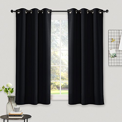 Blackout Draperies Window Curtain Panels - NICETOWN Autumn / Winter Thermal Insulated Solid Grommet Blackout Curtains / Drapes for Livingroom (Set of 2,42 Inch by 54 Inch,Black) (Curtains Drapes Window)