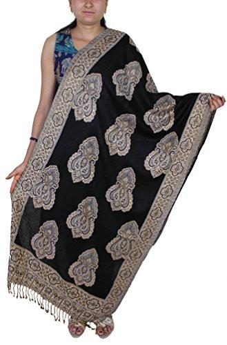 SKAVIJ Scarves for Women Spring Long Warm Winter Shawl Black (Indian Summer Stripe)