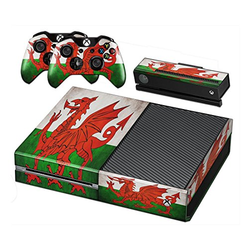 Stillshine Vinyl Decal Full Body Faceplates Skin Sticker For Xbox one console x 1 and controller x 2 (Flags Wales)