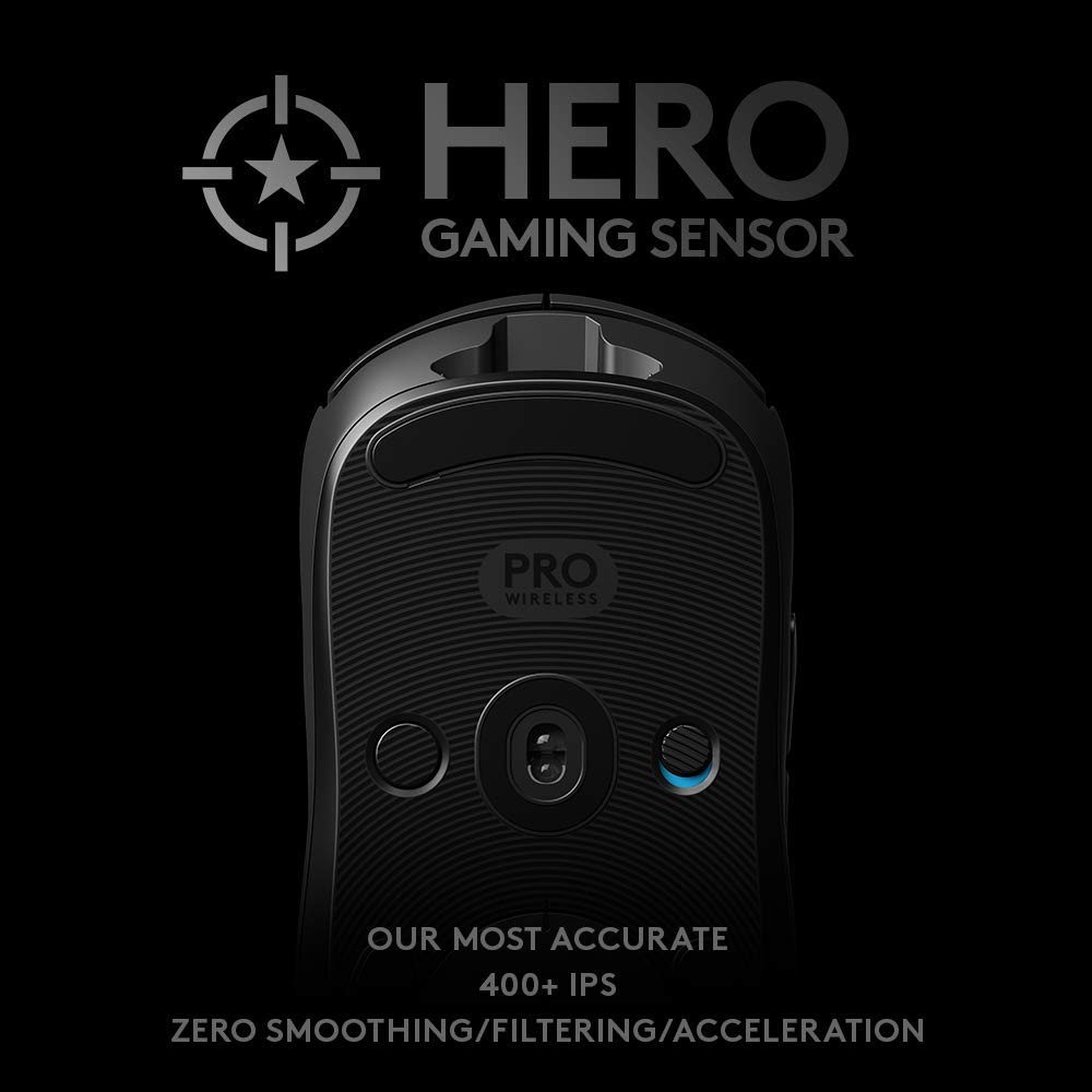 Logitech G Pro Rat/ón para Gaming Wireless con Sensor Hero Negro 16.000 dpi, Ligero, Gaming en PC, 4 Botones programables, duraci/ón de bater/ía Prolongada, Compatible con Windows, Mac y Chrome OS