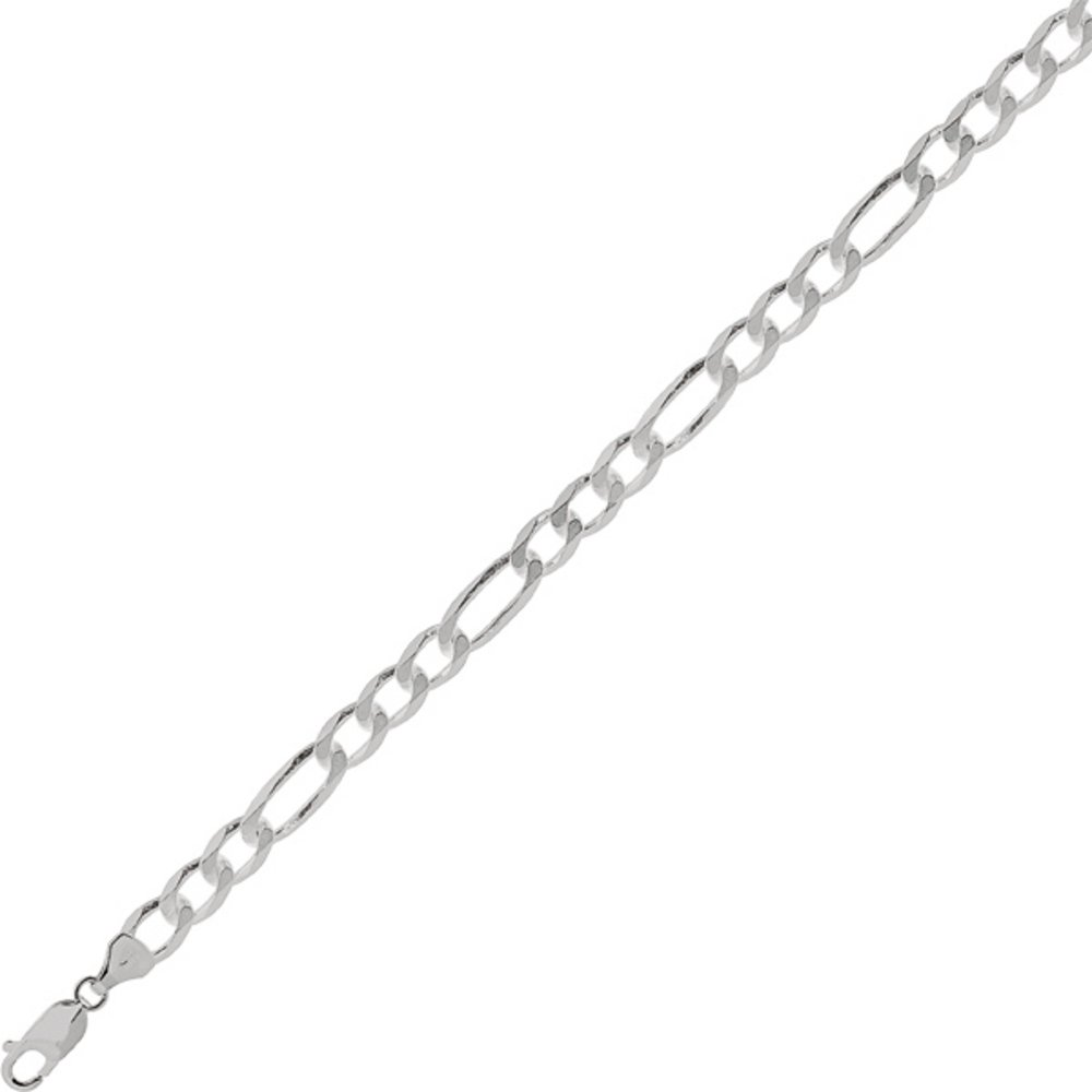 2//7 8.5 7.0mm Rhodium Plated Polished Edged 925 Sterling Silver Figaro Chain w// Lobster Clasp