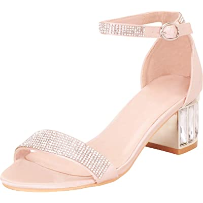 Cambridge Select Women's Open Toe Crystal Rhinestone Single Band Buckle Ankle Strappy Chunky Block Mid Heel Dress Sandal: Shoes