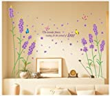 Kappier Beautiful Large Long Stem Lavender Flowers with Butterflies Waiting for the Arrival of Love Wall Decals Picture