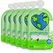 Reusable Food Pouch (6 Pack) Storage Easy Fill & Clean Leakproof Dual Zipper for Homemade Organic Baby Food, Toddlers, Camping, Comes With Extra Caps 6 oz