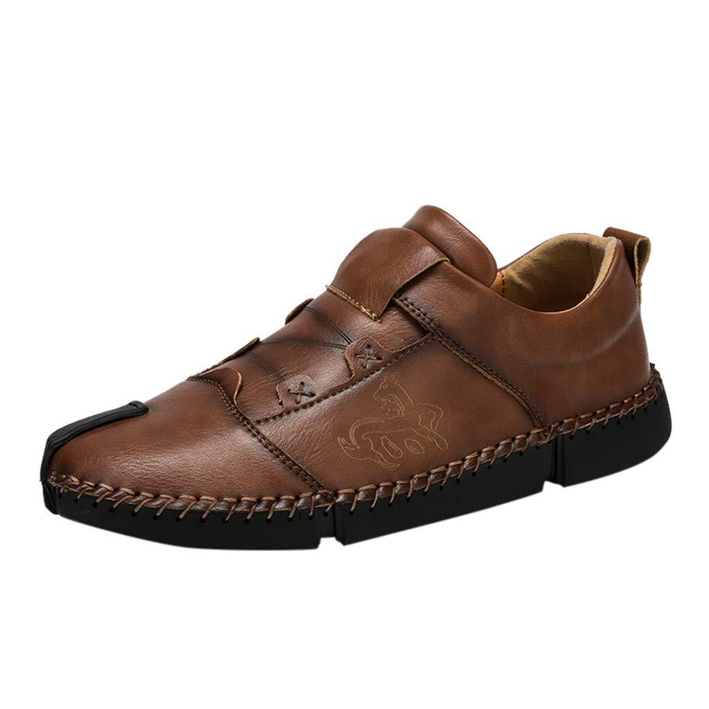 Men's Premium Genuine Leather Shoes Fashion Breathable Driving Shoes Flats Khaki