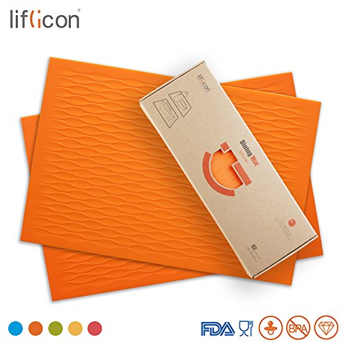 "Liflicon Placemats Set of 2 Silicone Dining Table Place Mats Pet Food Place Mat Non-slip Trivet Mats Heat-resistant Placemats Stain Resistant Anti-skid Table Mats Size 17.72""11.81""-Orange"