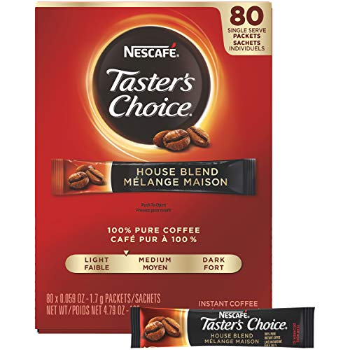 - Nescafe Instant Coffee, Ground Coffee, Single Serve, Light Roast, Tasters Choice, 1.7 g Packets (Pack of 80)