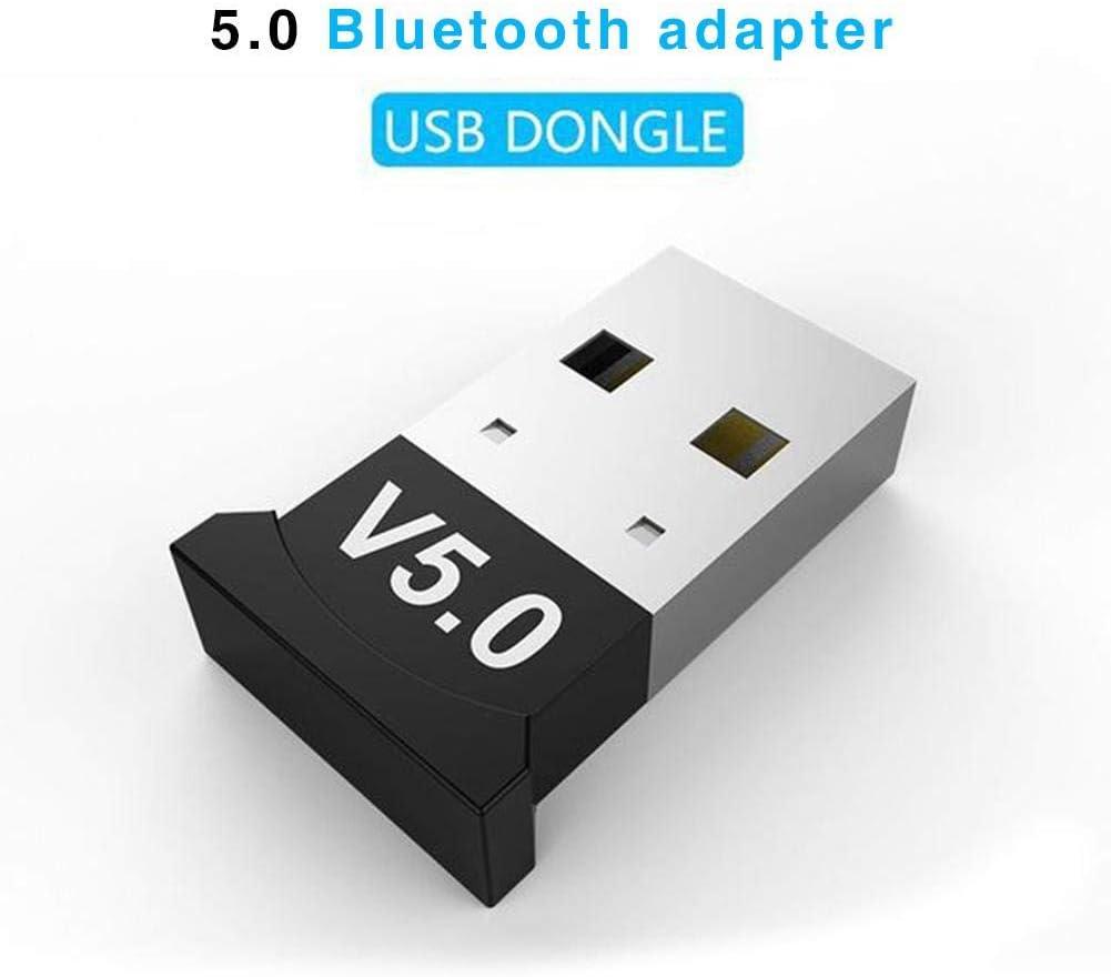 Ksruee Adaptador Bluetooth 5.0 USB - Unidad de Escritorio Unidad Libre Receptor de Audio Bluetooth - Dongle Music Receptor de Audio Transmisor - Interfaz USB Universal para computadora de Windows