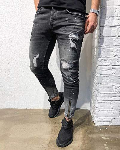 S Hombres pequeños Pantalones Hellomiko Agujeros para Negro 3XL xXqzRwf