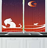 Ambesonne Cat Kitchen Curtains, Cats with Butterfly on Sea and Night Sky Ocean Waves Moon Stars Hearts Art Print, Window Drapes 2 Panel Set for Kitchen Cafe, 55 W X 39 L inches, Violet Orange For Sale