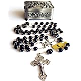 elegantmedical Handmade Silver Wire Wrap Black Obsidian Beads Rosary Cross Catholic Necklace Box Gifts