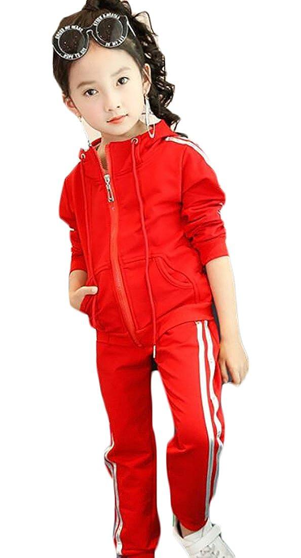 lovever Little Girls New Long Sleeve Slim Fit Zipper Hooded Sweatshirt + Casual Pants Tracksuit Set