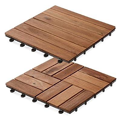 casa pura Interlocking Acacia Wooden, Garden and Patio Decking Tiles (Pack of 11) 12 x 12 inches