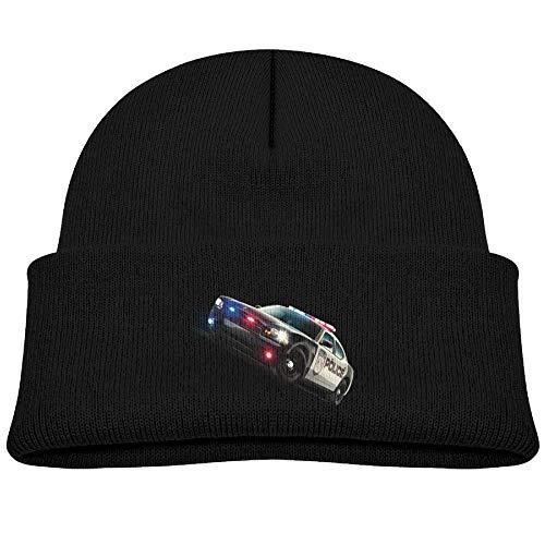 - Qiop nee Beanie Hats Wool Knit Caps Cartoon Police Car Boys' Girl Baby Soft Black