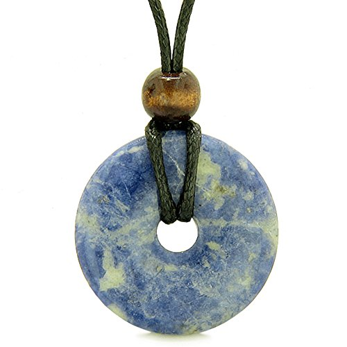 Amulet Magic Large Coin Shaped Donut Positive Powers Sodalite Healing Lucky Charm Necklace Magic Amulets