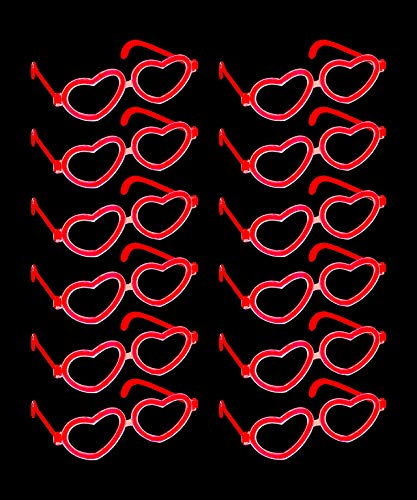 Red Heart Glow Stick Glasses – Wedding Party Favors 1 Dozen Glow in The Dark Funky Red Heart Glasses – Party Pack of 12