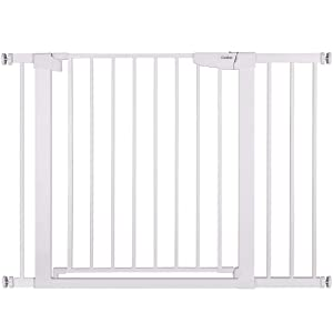 Cumbor 43.3-inch Auto-Close Safety Baby Gate, Extra-Wide and Tall Child Gate, Easy Walk-Thru