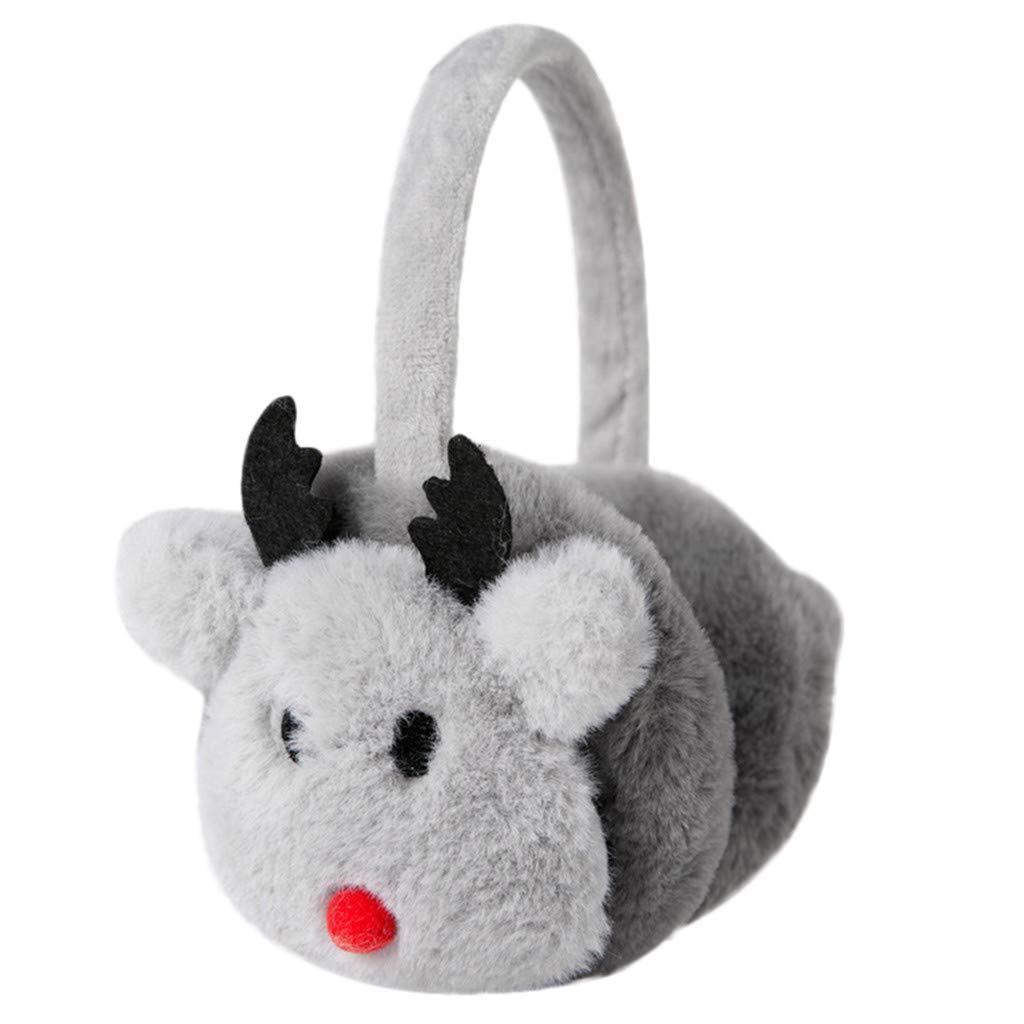 Kolylong Unisex Baby Cartoon Elk Christmas Design Windproof Warm Adjustable Earmuffs