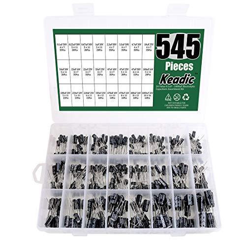 - Keadic 24Value 545Pcs Electrolytic Capacitor Assortment Box Kit Range 0.1uF-1000uF
